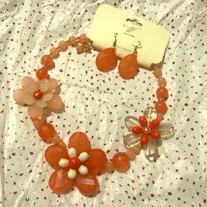 Coral/Orange Vintage Inspired Rose Neckless